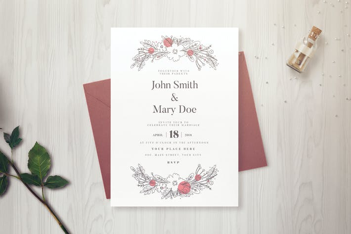 Thumbnail for Simple Floral Wedding Invitation