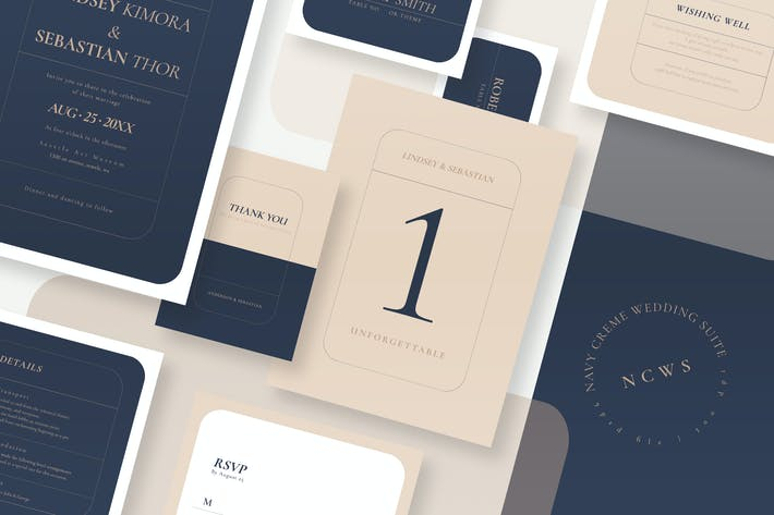 Thumbnail for Navy Creme Wedding Suite AE
