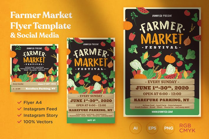 Thumbnail for Farmer Market Flyer Template & Social Media