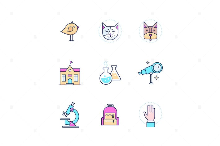 Thumbnail for School concepts - modern line design style icons