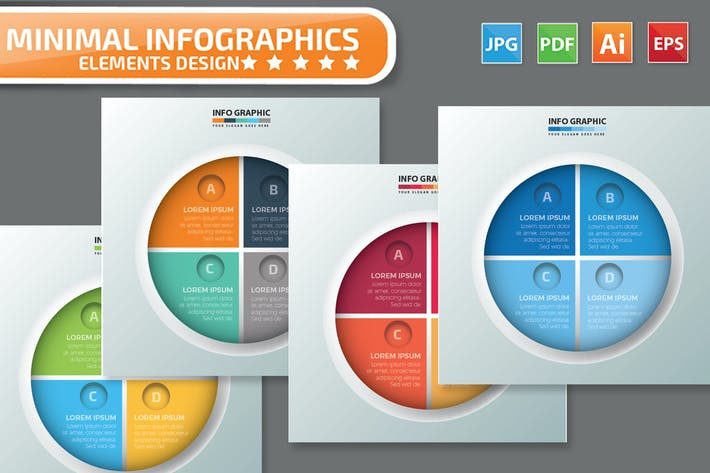 Thumbnail for Minimal 4 Circle infographic Design