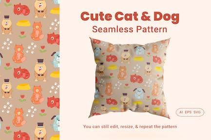 Seamless Pattern Cute Cat & Dog Animal