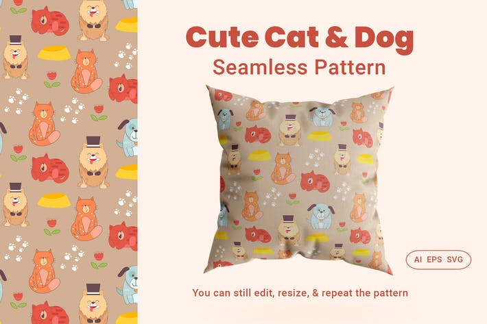 Thumbnail for Nahtloses Muster niedliche Katze & Hund Tier