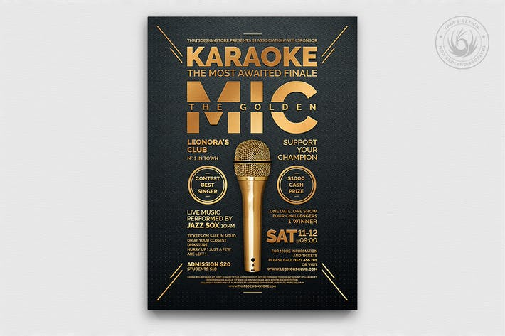 Thumbnail for Karaoke Flyer Template V8