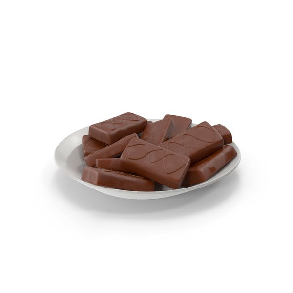 Plate with Sponge Cakes in Crisp Chocolate Cover