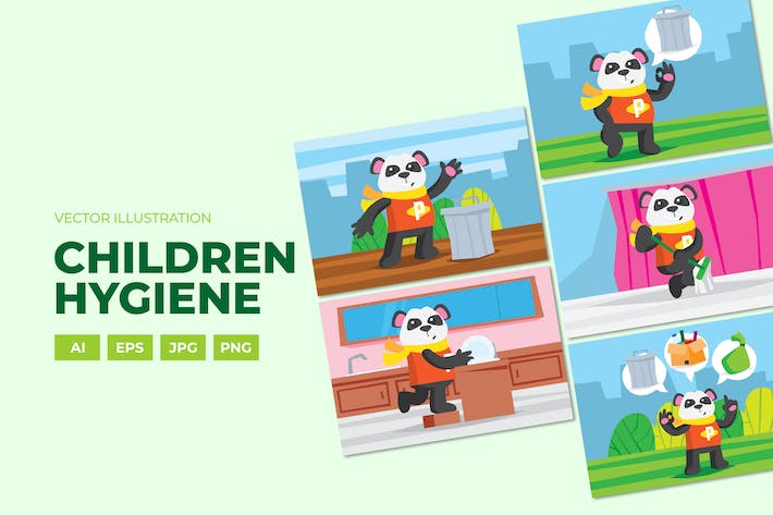 Thumbnail for Hygiene campaigns, Panda doing house cores
