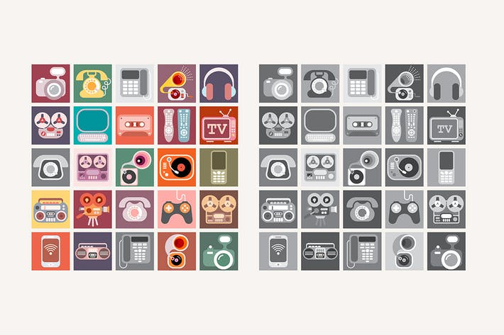 Thumbnail for Two options of Home Electronic vector icon set