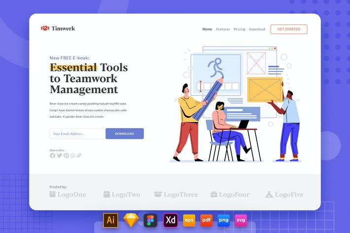 Landing Page V.34 Teamwork - Team Management