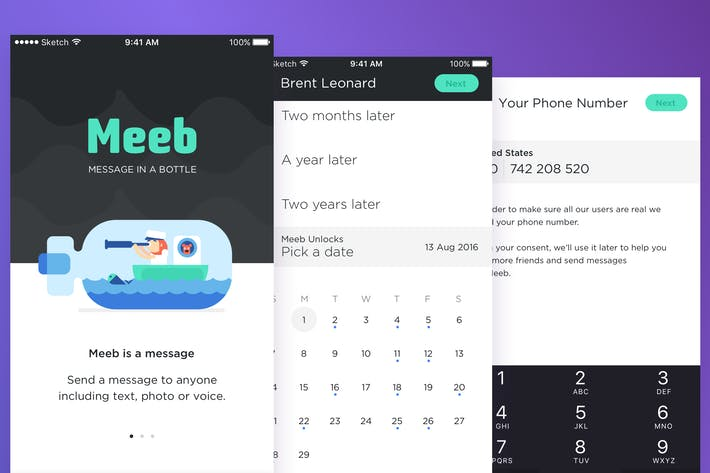 Thumbnail for Meeb - Message In Bottle App UI KIT