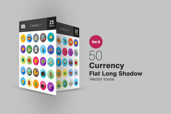Cover Image For 50 Currency Flat Shadowed Icons