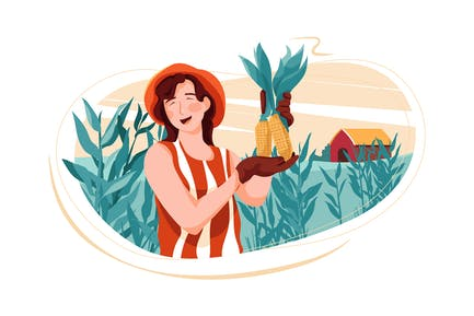 Eco Farming - Renewable Energy Illustration