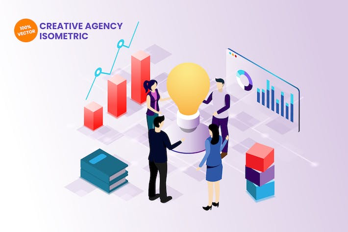 Cover Image For Isometric Creative Agency Vector Illustration