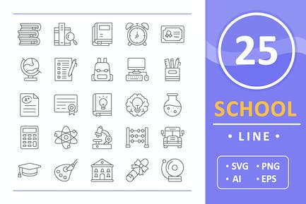 25 School Icons - Lineal