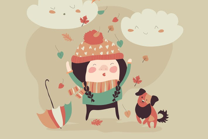 Thumbnail for Girl playing with autumn leaves. Vector