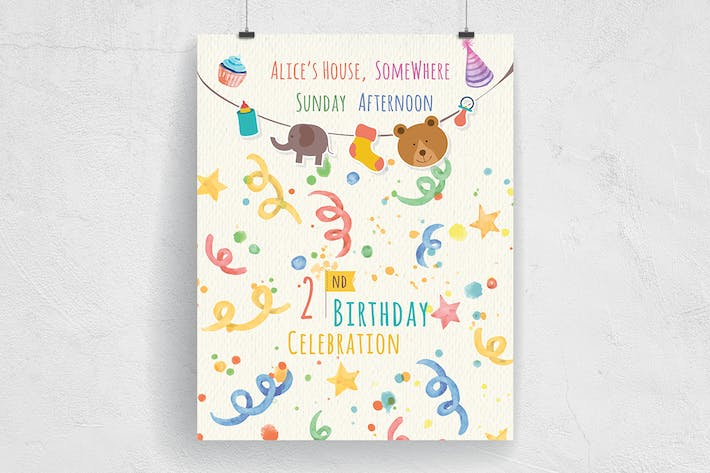 Cover Image For Cute Baby Birthday Party Invitation Flyer