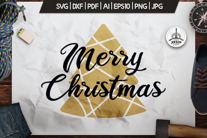 Thumbnail for Merry Christmas T-Shirt. Vector Print, Tree SVG
