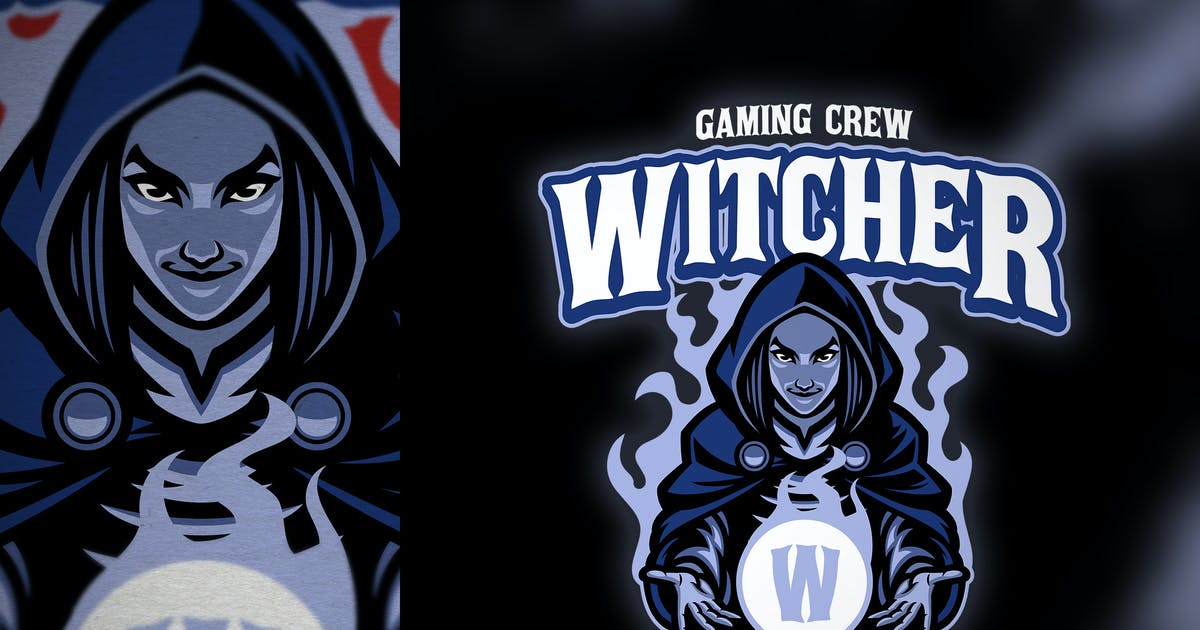 Download Lady witch e-sport logo template by bazzier