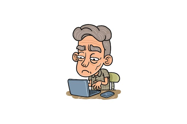 Old man on laptop - Character RG