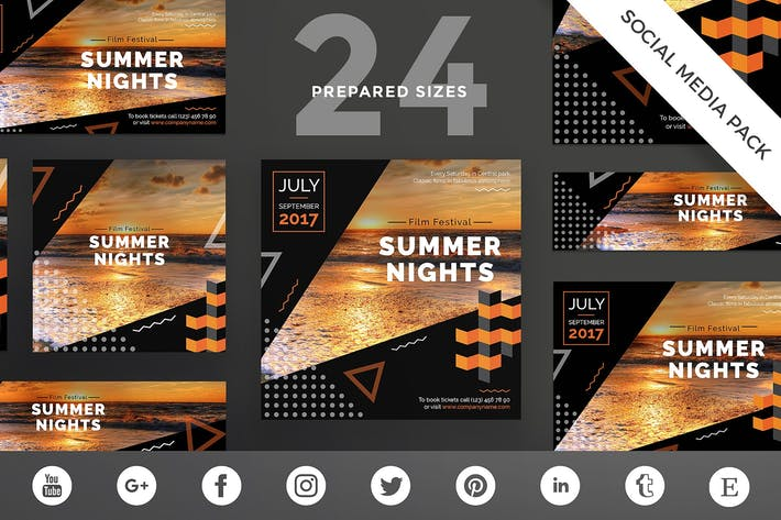 Thumbnail for Summer Film Festival Social Media Pack Template