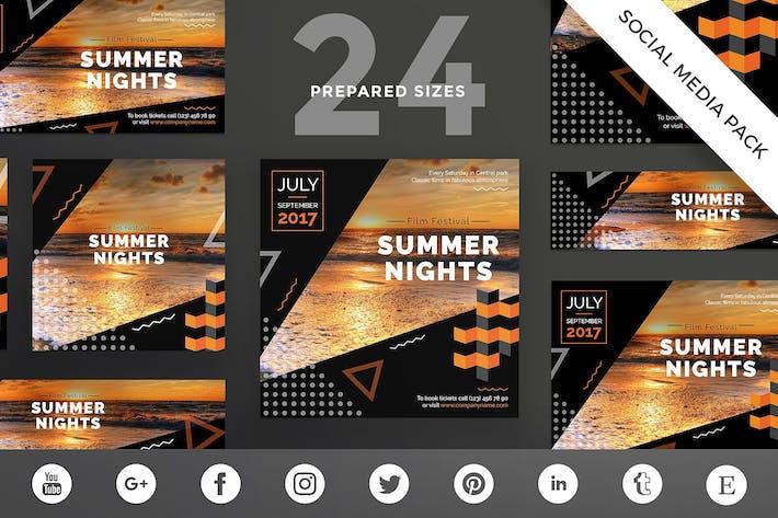 Thumbnail for Modèle de pack de médias sociaux du Festival du film d'été