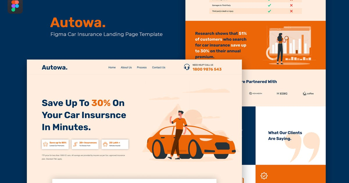 Download Autowa — Figma Car Insurance Landing Page Template by thememor
