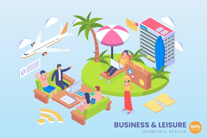 Isometric Business And Leisure Vector Concept