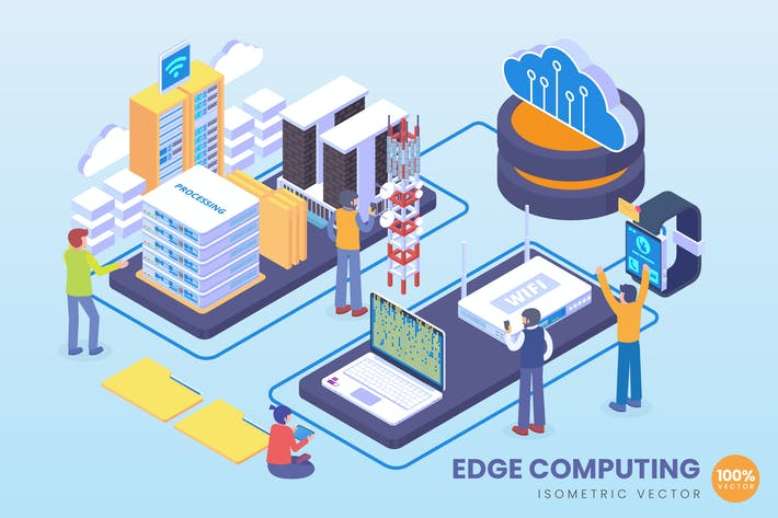 Thumbnail for Isometric Edge Computing Vector Concept