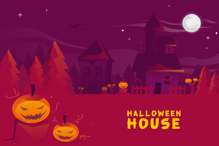 Thumbnail for Halloween House - Vector Landscape & Building