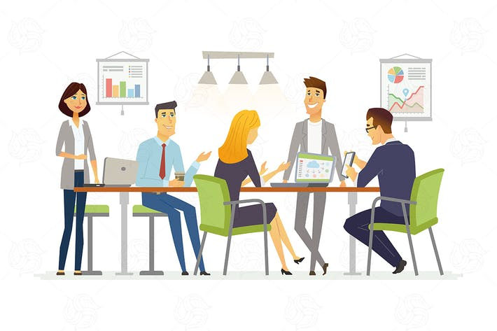 Thumbnail for Business Discussion - vector cartoon illustration