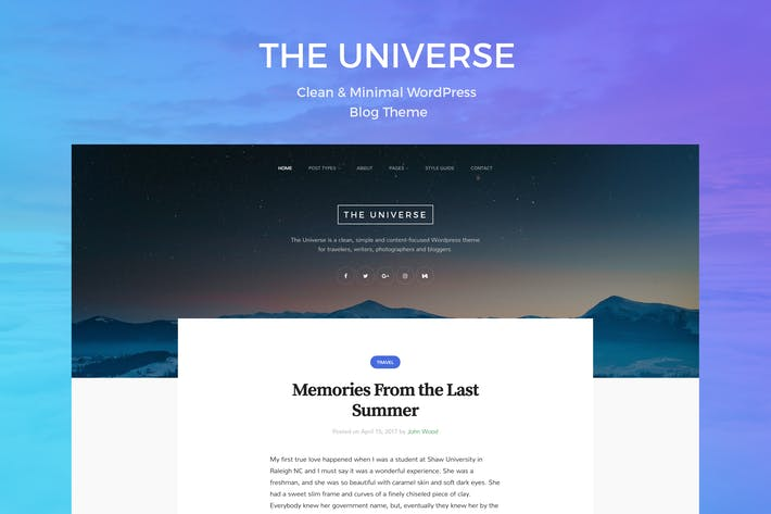 Thumbnail for Universe - Clean & Minimal WordPress Blog Theme