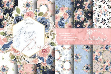 Watercolor Navy and Pink digital paper pack