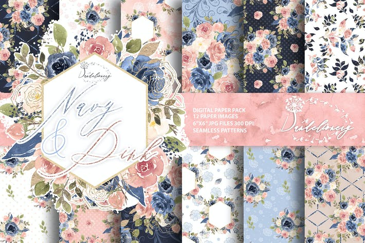 Thumbnail for Watercolor Navy and Pink digital paper pack