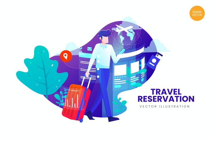 Thumbnail for Travel Reservation Vector Illustration Concept