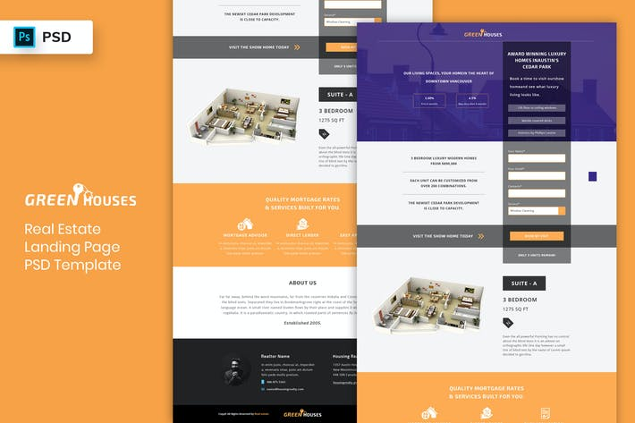 Thumbnail for Real Estate - Landing Page PSD Template