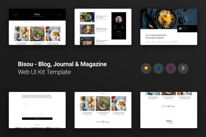 Thumbnail for Bisöu Blog, Journal & Magazine Web UI Kit Template