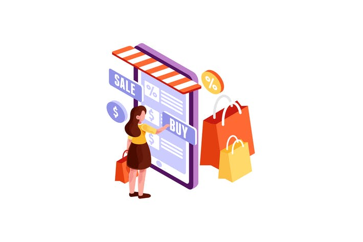 Thumbnail for Isometric Woman making Online Shopping