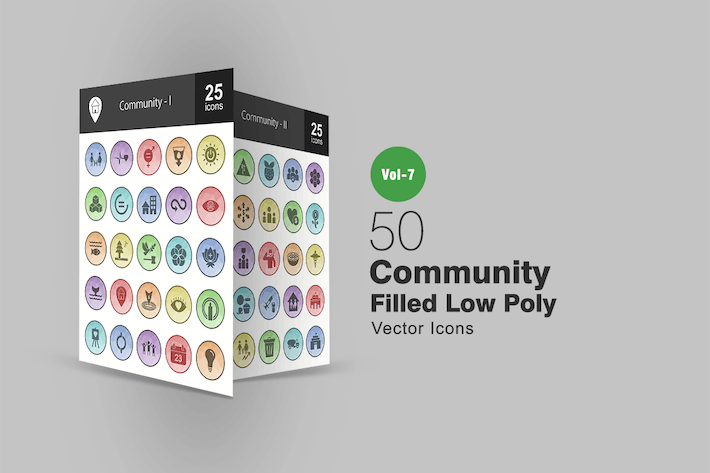 Thumbnail for 50 Community Filled Low Poly Icons