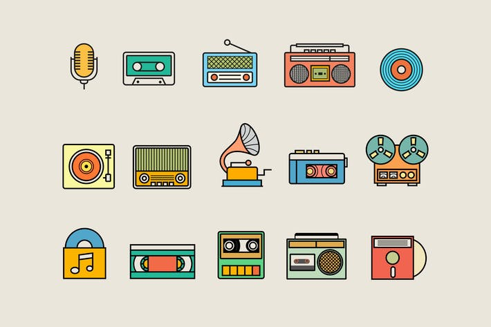 Thumbnail for 15 Vintage Audio Icons