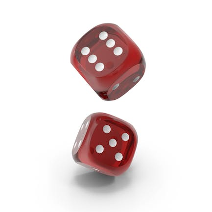Dices Falling Transparent Red White