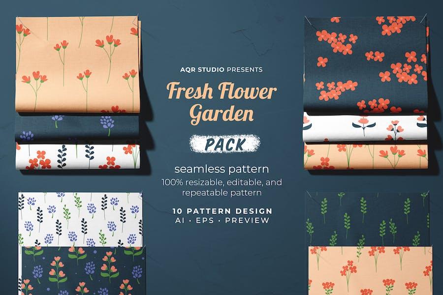 Frischer Blumengarten - Nahtlose Muster
