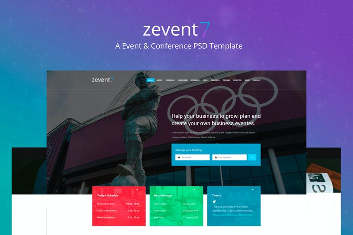 Cover Image For Zevent - Conference & Event PSD Template