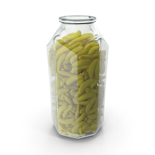 Octagon Jar With Gummy Bananas