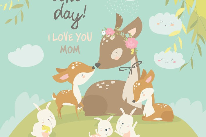 Cover Image For Cartoon Deer family. Mother and baby. Cute animals