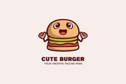 Cute Hamburger Food Cartoon Mascot Logo Template