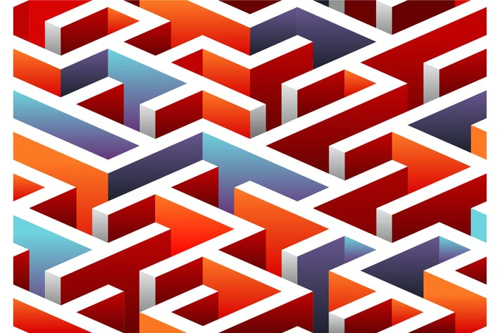 Thumbnail for Isometric seamless Maze pattern.