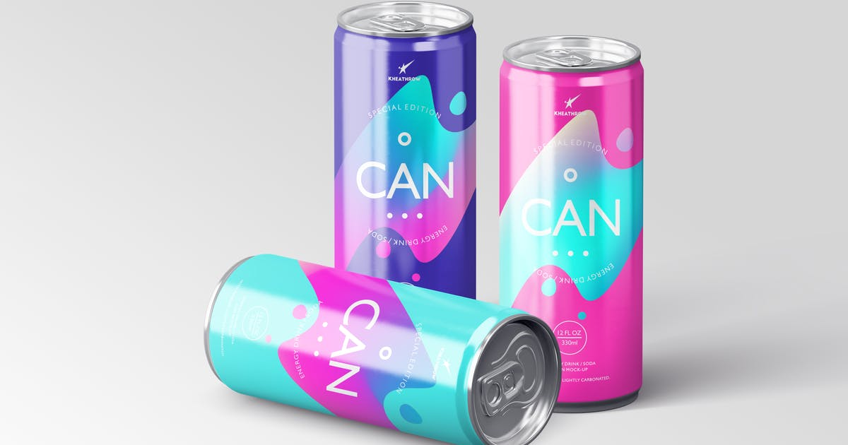 Download Energy / Soda Drink Can Packaging Mock-Ups Vol.1 by Kheathrow