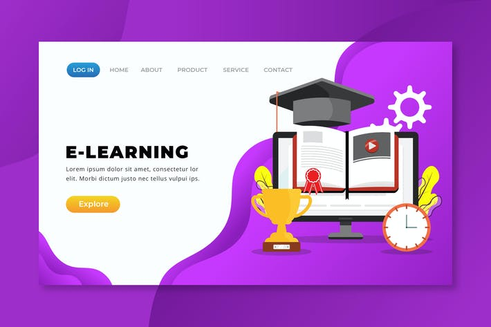 Thumbnail for E-Learning  - XD PSD AI Vector Landing Page