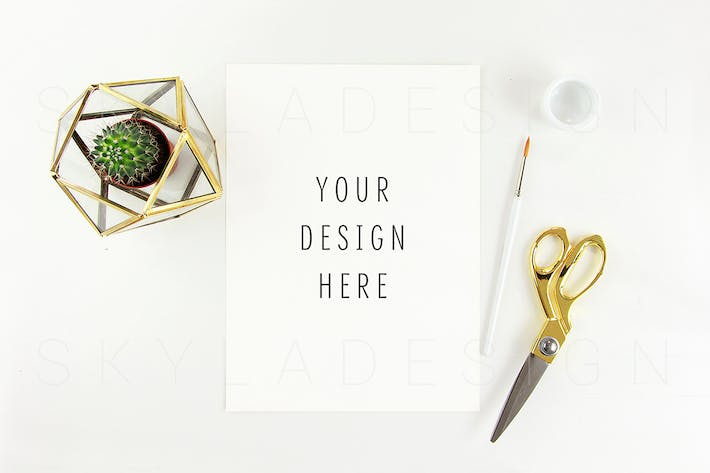 Thumbnail for Feminine styled stock artist mockup gold