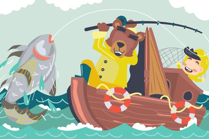 Thumbnail for Fishing Kids Illustration