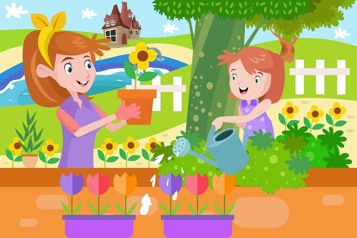 Thumbnail for Girl and Mommy Watering a Plants - Illustration